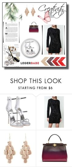 """Long Sleeve Tight Black Dress-Legerbabe Rana Rose Multi-Texture Plaited Jacquard Dress"" by legerbabedress ❤ liked on Polyvore featuring Giuseppe Zanotti, Charlotte Russe and Fendi"