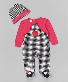 Pink & Black Houndstooth Footie & Beanie - Infant by Baby Mode #zulily #zulilyfinds
