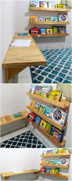 Pallets Old pallet kids bed with wall desk and bookshelf 4 - A house renovation is incomplete without having the proper arrangement of the wooden furniture items. But what type of furniture will suit to your lounge. Wooden Pallet Shelves, Diy Pallet Wall, Wood Pallet Furniture, Pallet Crafts, Diy Pallet Projects, Wooden Pallets, Wooden Diy, Wood Crafts, Kids Furniture