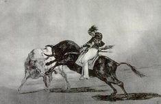 """Francisco de Goya y Lucientes. """" Ceballos montando sobre otro toro ,quiebra rejones, en la plaza de Madrid """". Visitar: http://www.elartetaurino.com/la%20tauromaquia%20de%20goya.html"""