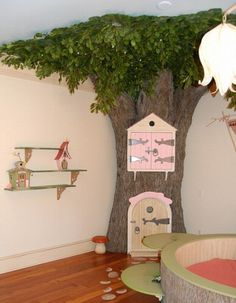 Forest Theme Nursery Room - corner tree