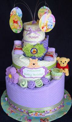 Winnie the Pooh Themed Diaper Cake www.facebook.com/DiaperCakesbyDiana
