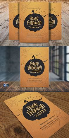 Vintage Halloween Party Flyer V5. Poster Templates. $8.00