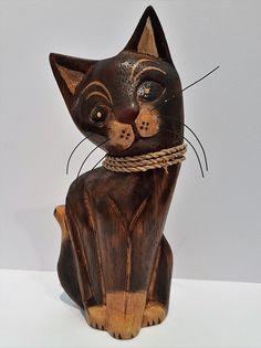 Katze aus Holz Handarbeit exklusiv verziert Unikat Deko Tierfigur Skulptur
