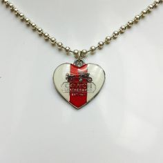 """Coach SilverTone Red White Heart Pendant Necklace 100% Authentic Coach Red & White Enamel Silver Tone Heart Pendant on 18"""" Necklace. Goes perfect with everything! Retail $80.00 Coach Jewelry Necklaces"""