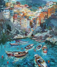 Buy Riomaggiore Cinque terre Italian Landscape painting, Oil painting by Anastasiya Valiulina on Artfinder. Discover thousands of other original paintings, prints, sculptures and photography from independent artists. Landscape Painting Artists, Oil Painting Abstract, Small Canvas Paintings, Buy Paintings, Original Paintings, Italy Painting, Venice Painting, Watercolor Architecture, Abstract City