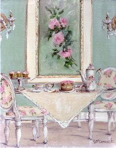 Original Whimsical Painting - Shabby Chic High Tea - Postage is included Australia Wide