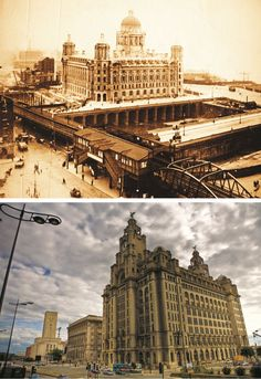 The Strand in Liverpool is depicted here in 1907 and shows the exquisite Port of Liverpool building aside a cavernous and water-filled St George's Dock. The outstanding design was the new headquarters for the Mersey Docks and Harbour Board and cost an enormous £ 350,000 to build. The Royal Liver Building, opened in 1911 and at 90m high it was the tallest building in the city for several decades and its clock face is the largest in Britain, as are the hands, which are even bigger than Big…