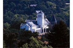 Our venue! A castle-like setting with outdoor terrace facing Mount Tamalpais in sunny Marin county.  San Francisco Theological Seminary