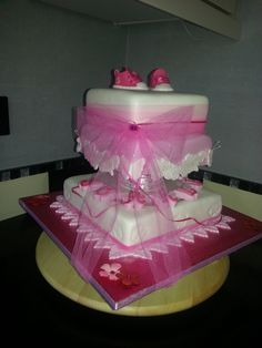 Christening cake. pink. converse topper. Mr's B's classy cakes. facebook