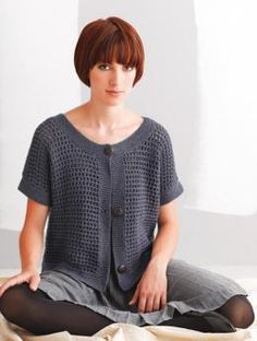 Short-Sleeve Sweater With Ajour Pattern free pattern