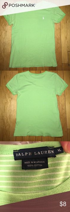 Ralph Lauren tee Size XL. (Runs small). 100% cotton. Bright green with small white striped. Short sleeve. Excellent condition- no stains or flaws. Ralph Lauren Tops Tees - Short Sleeve