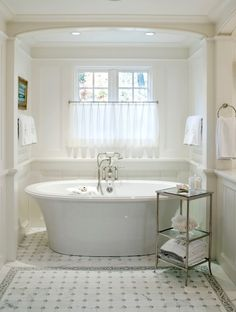 Benson Interiors - bathrooms - Easton Etagere with Clear Glass, bathtub nook, bath nook, tub nook, bathroom nook, bathtub alcove, bath alcov...