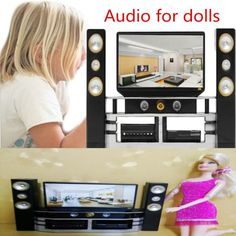 Niños Barbie Muebles de Casa Muñecas Hi-Fi TV Gabinete Combo Accesorios Juguetes