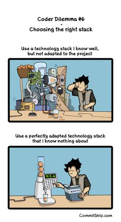 Coder Dilemma #6 – Choosing the right stack   CommitStrip - Blog relating the daily life of web agencies developers