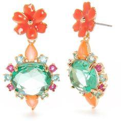 Kate Spade New York  Drop Earrings ($68) ❤ liked on Polyvore featuring jewelry, earrings, multi, flower drop earrings, flower earrings, kate spade, flower jewelry and flower jewellery