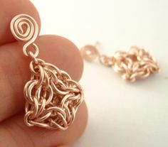 Rose Gold Chainmaille Earring Kit - Intermediate - Celtic Labyrinth. $20.00, via Etsy.