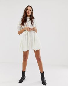 Shop the latest Free People Sydney mini shirt dress trends with ASOS! Free delivery and returns (Ts&Cs apply), order today! Mini Shirt Dress, Ivory Dresses, Disneybound, Skater Skirt, Fashion Online, Asos, Free People, White Dress, Short Sleeves