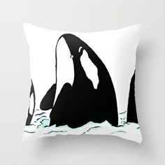 Orcas Throw Pillow by Korok Studios - $20.00