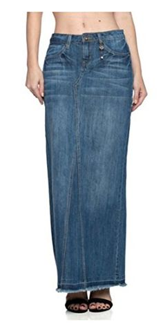 9988ddc8292 Tabeez Womens Regular Plus Size Classic Stretch Denim Long Skirt -- To view  further for