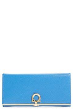 SALVATORE FERRAGAMO 'Gancini Icona' Saffiano Calfskin Wallet. #salvatoreferragamo #