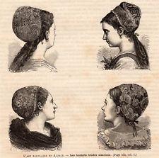GRAVURE 1880 ENGRAVING ALSACE BONNETS BRODES ALSACIENS