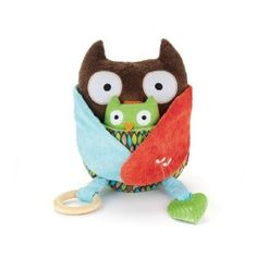 BabyBear sure does love this owl.  It has a soft, soothing bell on the inside and the baby owl has a (not soothing sounding) squeaker.  There are also a couple of teething toys attached.  This is a great toy and comes in a variety of different animals.  It's survived a few washes in our washing machine (just know that the mirror doesn't wash well and ends up looking like a silver colored circle) and still looks brand new.