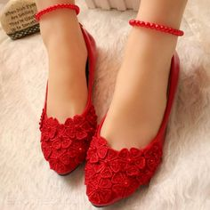 Womens Bride Flower Flat Round Toe Dress Shoes Wedding Ankle Strap Loafers in Clothing, Shoes & Accessories, Women's Shoes, Flats Lace Bridal Shoes, Bridal Wedding Shoes, Bridal Sandals, Bride Shoes, Bridal Chura, Wedding Bride, Indian Shoes, Dream Shoes, Ankle Straps