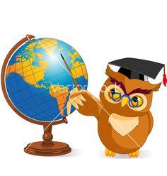 Cartoon wise owl with world globe vector art - Download Bird ...