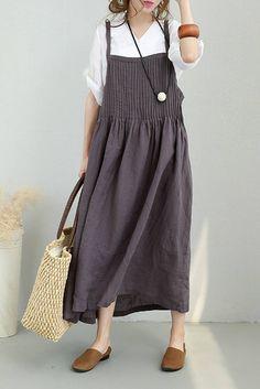 Women Summer Strap Linen Long Dress Casual Clothes 877 | FantasyLinen