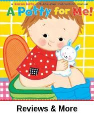 "A Potty for Me!: A Lift-the-Flap Instruction Manual by Karen Katz | Juv. Easy Katz | Children will love following along and lifting the flaps to see the child play, sit on thepotty, eat, sit on the potty, sleep, and then sit on the potty...until finally there is success. Written from a child's point of view, this new potty-training book will help children join in the final refrain, ""I'm so proud of me!"""