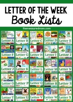 spring books for kids in preschool and kindergarten - The Measured Mom Looking for a letter of the week book list to go along with your alphabet activities! Check out this giant resource. It's our favorite books for every letter! Preschool Literacy, Preschool Books, Preschool Lessons, Preschool Kindergarten, Kindergarten Library, Home Preschool, Preschool Reading Activities, Preschool Classroom Themes, Kindergarten First Week
