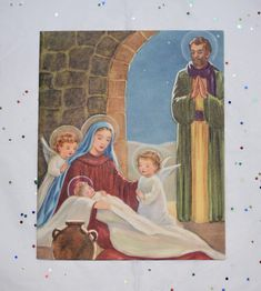 UNUSED Vintage Christmas Card Baby Jesus Mary Joseph Angel Adoring Angels 1953 - $19.99. Unused Christmas card from 1953 featuring Mary, Joseph and Baby Jesus with angels with envelope. Measures 4 1/2 inches across by 5 1/2 inches high and is in good condition, no writing, rips or tears. Thank you and Enjoy! Will be shipped 1st class package in a cardboard mailer for safety and tracking purposes. I do NOT ship international, USA only. 253325320118