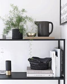 Black and white shelf styling