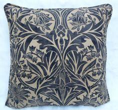 William Morris Fabric, Cushion Cover~ 'Bluebell' Black/Manilla 100% Cotton | eBay