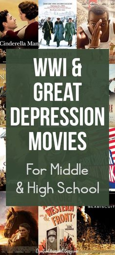 Bring history to life through movies! Here is a list of WWI and Great Depression movies for middle school and high school that are PG-13 or under.