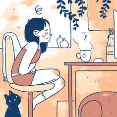 Japon Illustration, Cute Illustration, Character Illustration, Cartoon Drawings, Cartoon Art, Cute Drawings, Aesthetic Art, Aesthetic Anime, Arte Indie