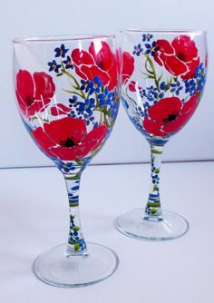 Hand Painted Poppies & Forget-Me-Not Flowers Wine Glasses (set of 2). Featuring beautiful red poppy flowers with small blue Forget-Me-Not