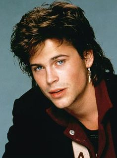 Rob Lowe sporting a fashionable mullet and earring back in t. Rob Lowe sporting a fashionable mullet and earring back in t. Actors Male, Actors & Actresses, Rob Lowe 80s, Rob Lowe Young, 80s Mullet, Mullet Hairstyle, Mullets, Portraits, Elmo
