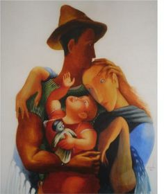 Family - Jose de Almada-Negreiros ArtDeco Wikipaintings This reminds me of my family.