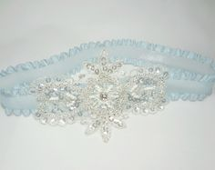 Ice blue garter – perfect for a winter wedding