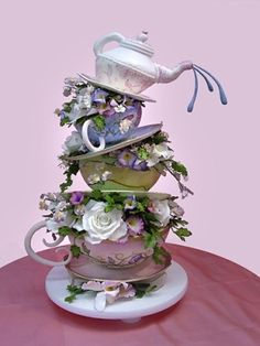 Tea party cake - design by Christopher Garrens (www. Gorgeous Cakes, Pretty Cakes, Amazing Cakes, Unique Cakes, Creative Cakes, Creative Ideas, Tea Cakes, Cupcake Cakes, Teacup Cupcakes