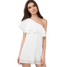 324e6da7606a asmax 2017 Fashion Joker Jumpsuit Women Solid Sweet One Shoulder Playsuit White  Ruffles Short Sleeve Chiffon Jumpsuit