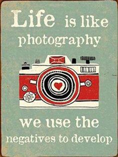 Caméras Poster Plaque En Métal - Life Is Like Photography, Retro Style (35 x 26 cm)
