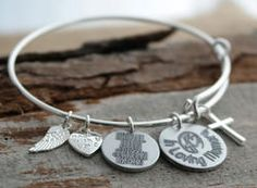 In Loving Memory Personalized Adjustable Wire Bangle Bracelet