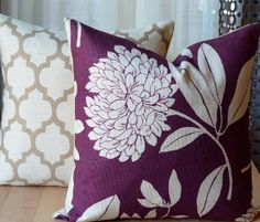 Purple Pillow Cover, Floral, Decorative Pillow Cover, Modern Throw Pillow, Taupe, Purple and Tan Pillow, Holiday Decor, Pillow Set on Etsy, $52.00