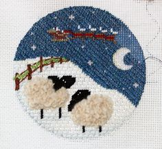 needlepoint sheep ornament