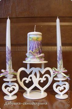 Поделка, изделие Выпиливание: Лавандовая свадьба: подсвечники для семейного очага + Мастер-класс Краска, Фанера Свадьба. Фото 1