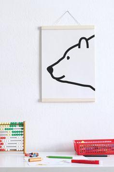 Poster Polar Bear - Kids - Print - Illustration - Children's Room - Polar Bear - A3 by Fine Fine Stuff