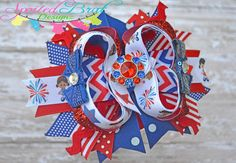 Patriotic American Fireworks Bow Bow by spoiledbratdesignz on Etsy, $10.50